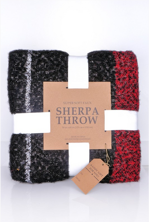 Plaid Sherpa Throw Blanket