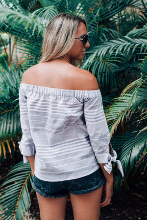 Sail Away Striped Off-Shoulder Top