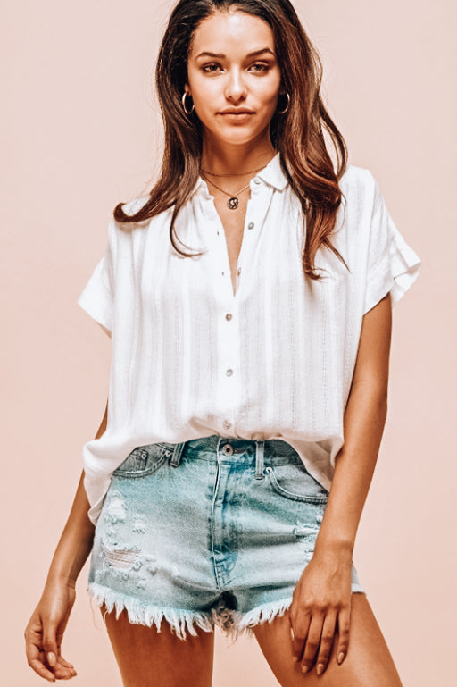 Sandra Textured Woven Button Down Blouse