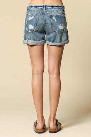 Ocean Blvd Distressed Denim Boyfriend Shorts