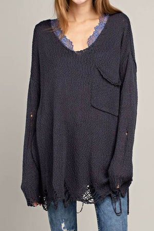 Shania Distressed V-Neck Sweater