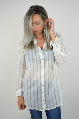 Sheer Genius Striped Blouse front 1