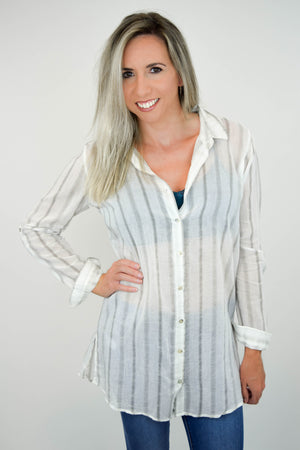 Sheer Genius Striped Blouse front 2