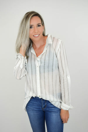 Sheer Genius Striped Blouse front 3