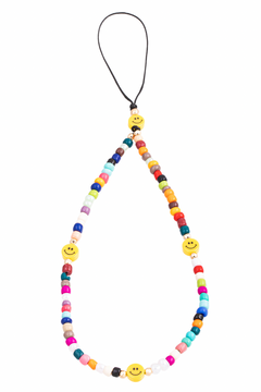 Smiley Face and Beads Phone Strap