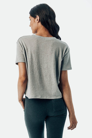 Smoky Grey MomCrop Tee Back