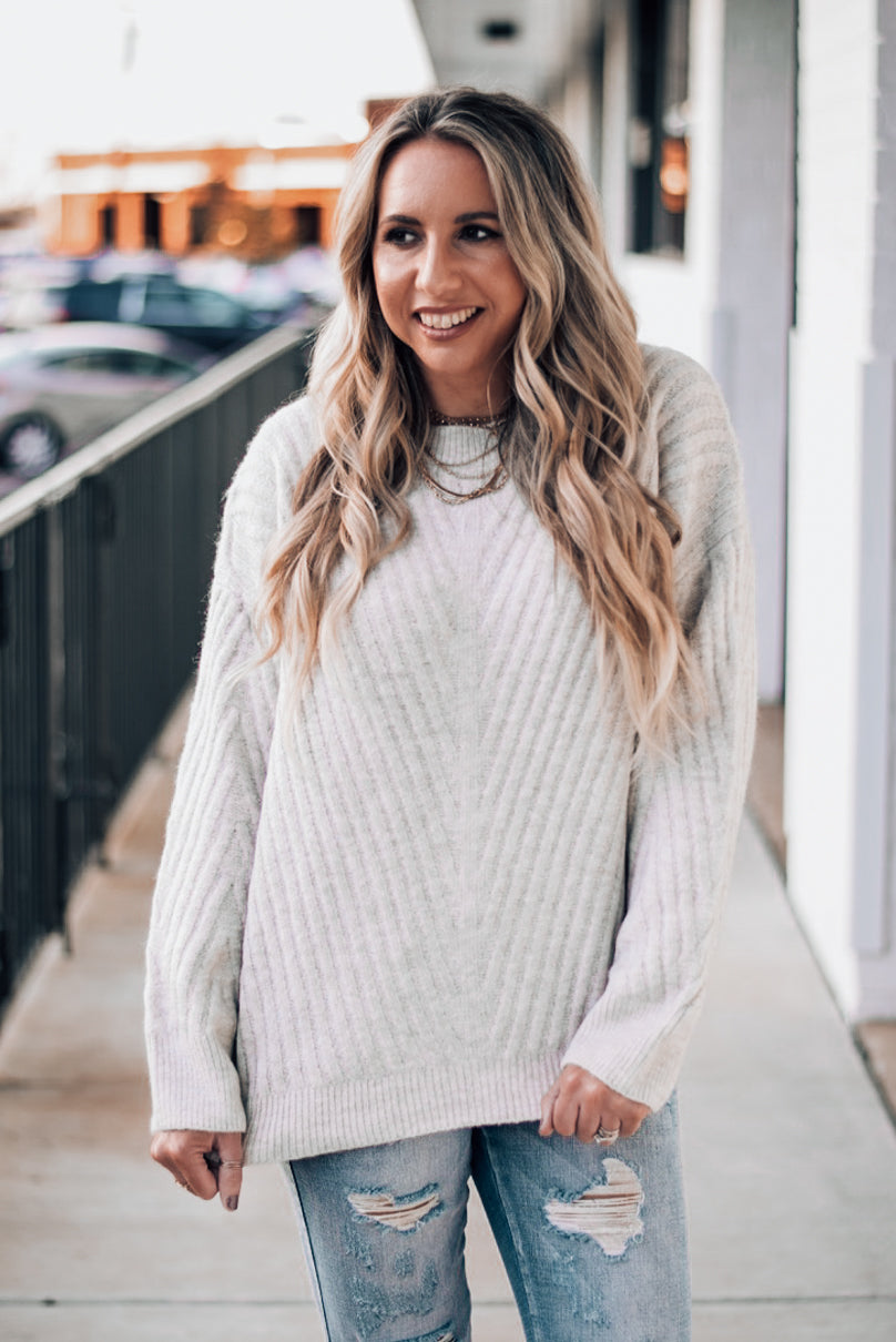 So in Love Oatmeal Ribbed Sweater