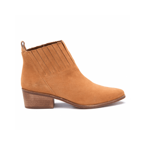 Sophea Tan Leather Ankle Bootie outside view