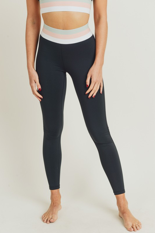 Spring Fling Tricolor Band High Waist Leggings