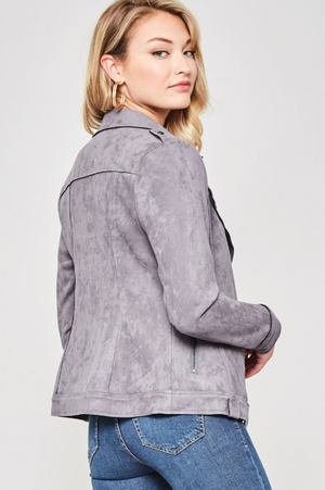 Stunner Grey Microsuede Studded Jacket