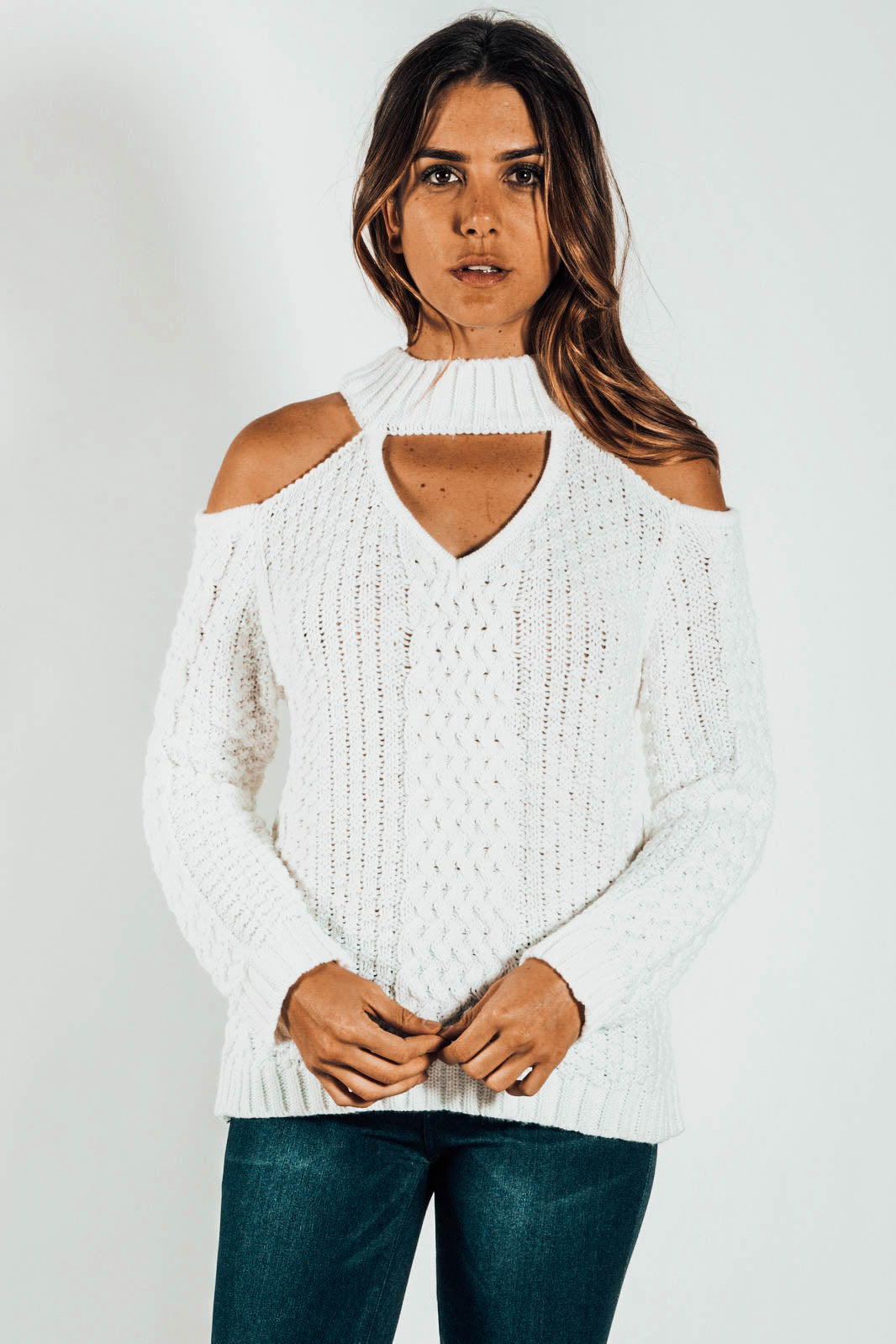 Sugar Sugar Cold-Shoulder Cable Knit Sweater