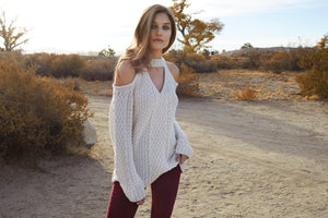 Sugar Sugar Cold-Shoulder Sweater modeled