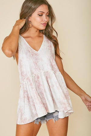 Sunkissed Snakeskin V-Neck Sleeveless Top