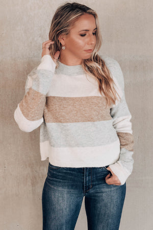 Sweet Emotions Grey Colorblock Sweater Front