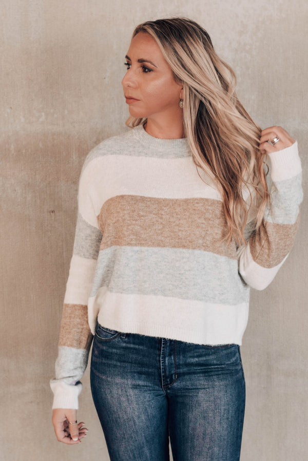 Sweet Emotions Grey Colorblock Sweater