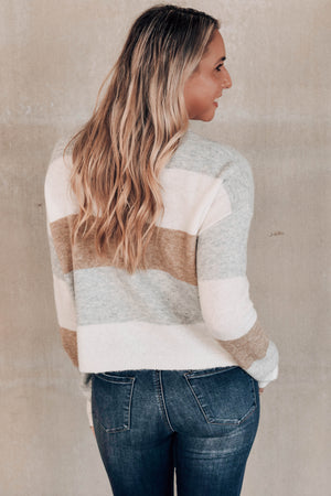 Sweet Emotions Grey Colorblock Sweater Back
