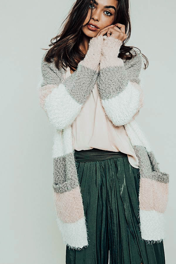 Swiss Alps Color Block Fuzzy Cardigan