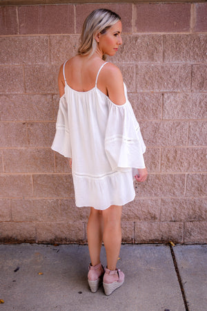 Tessa Cold Shoulder Embroidered Dress back
