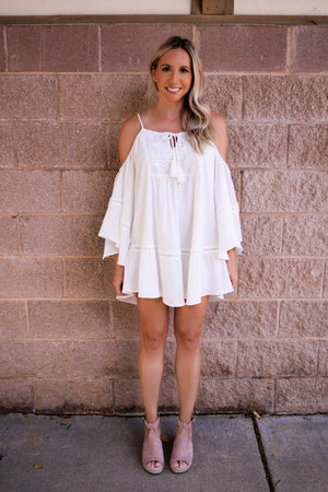 Tessa Cold Shoulder Embroidered Dress front