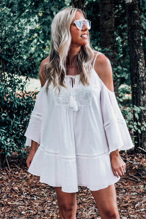 Tessa Cold Shoulder Embroidered Dress