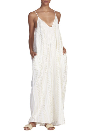 Tour of Tulum White and Gold Flowy Maxi Dress