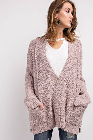 Weekend Casual Button-Front Popcorn Cardigan