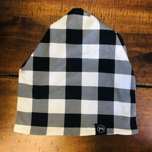 White Buffalo Check Messy Bun Beanie
