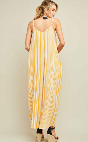 You're the Sunflower Striped Maxi Dress