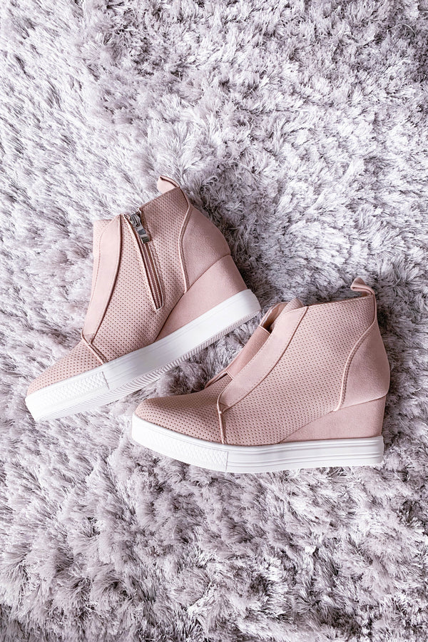 Zoey Blush Wedge Sneakers