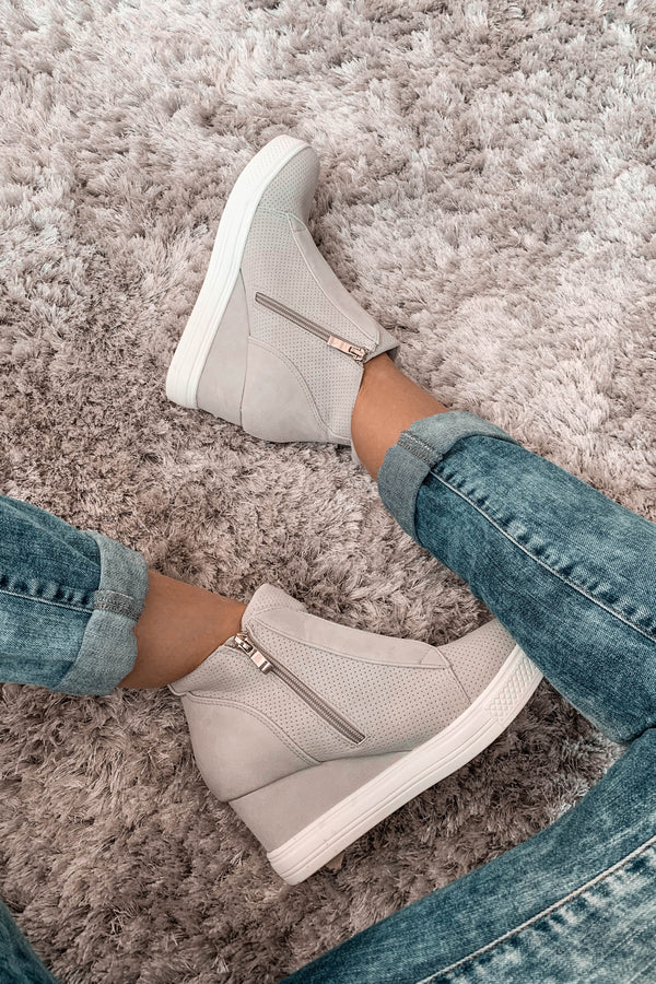 Zoey Grey Wedge Sneakers