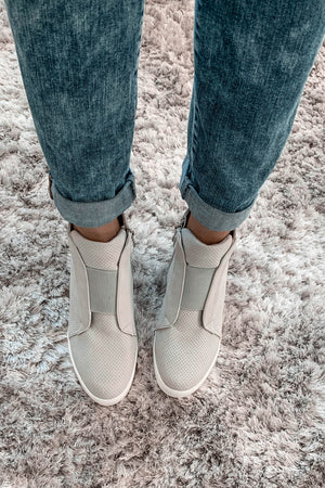 Zoey Grey Wedge Sneakers top view