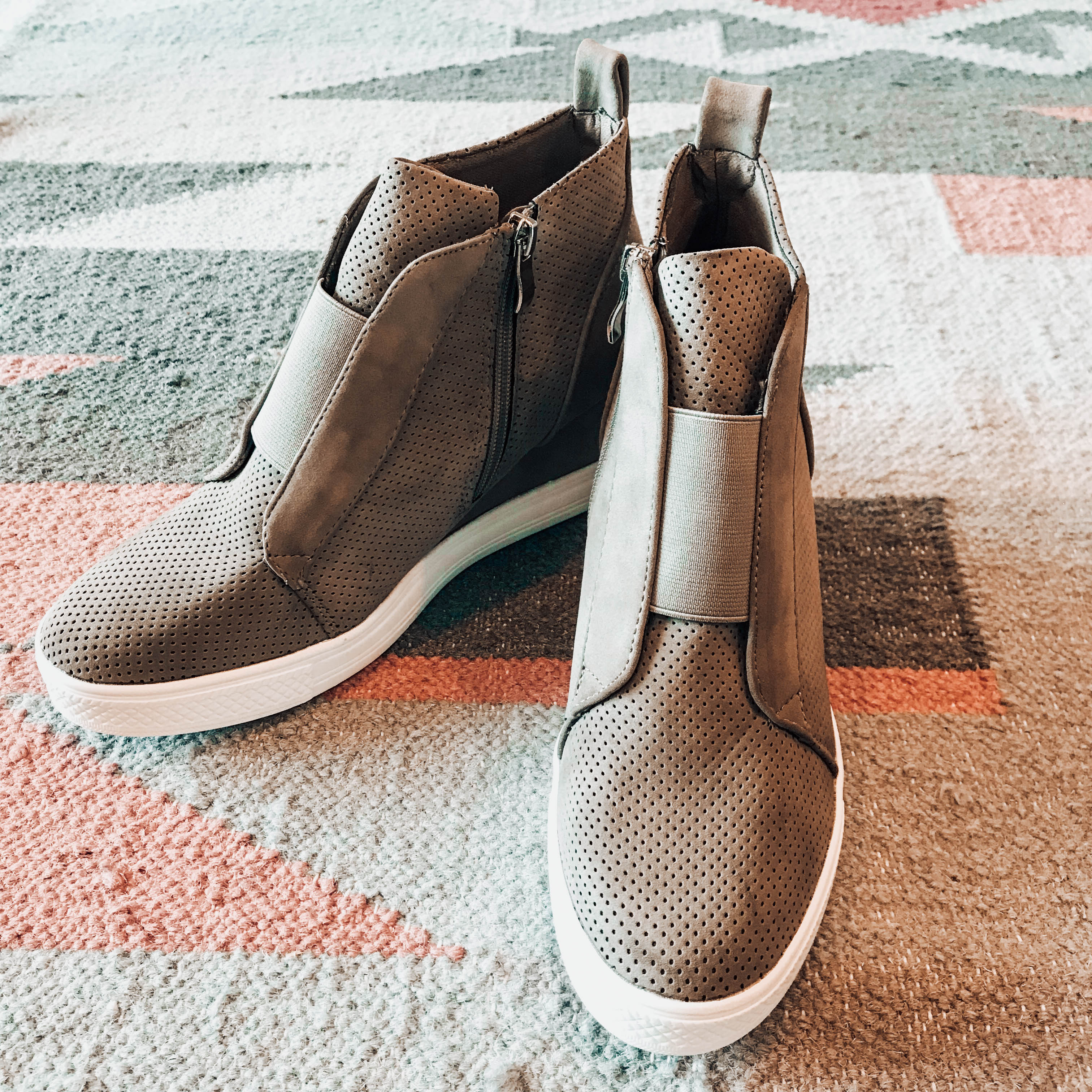 Zoey Taupe Wedge Sneakers - Makaila James