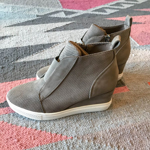 Zoey Taupe Wedge Sneakers side view