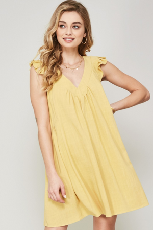 Be My Sunshine Flutter Sleeve Dress