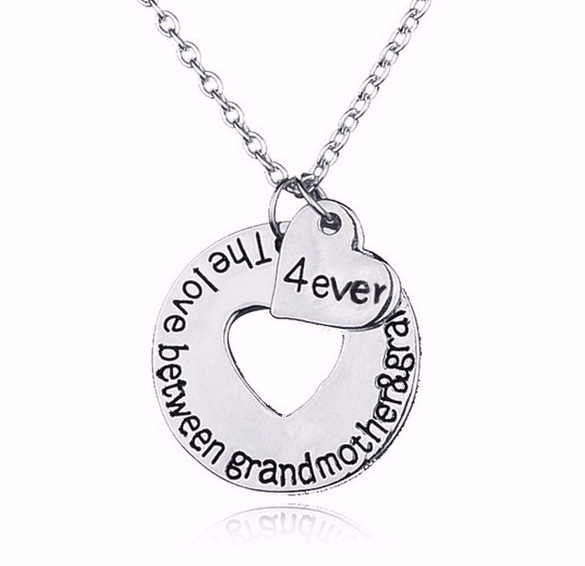 """Grandson Love"" Open Heart Necklace"
