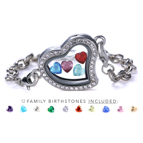 """Inside My Heart"" Floating Charms Bracelet +12 Birthstones"
