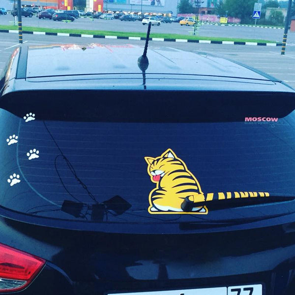 Cute Cat 'Moving Tail' Sticker (For Rear Wiper)