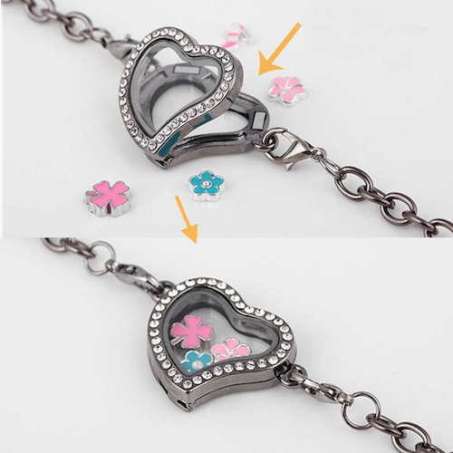 "FREE ""Inside My Heart"" Floating Charms Bracelet +12 Birthstones (Only pay shipping)"