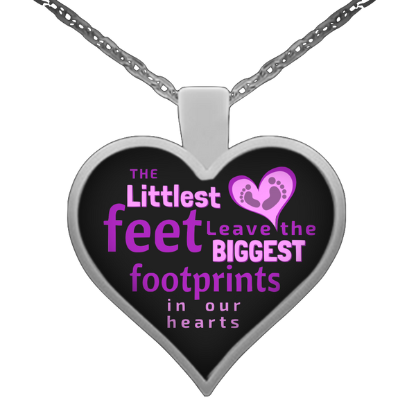"""Footprints in our Hearts"" Heart Necklace"