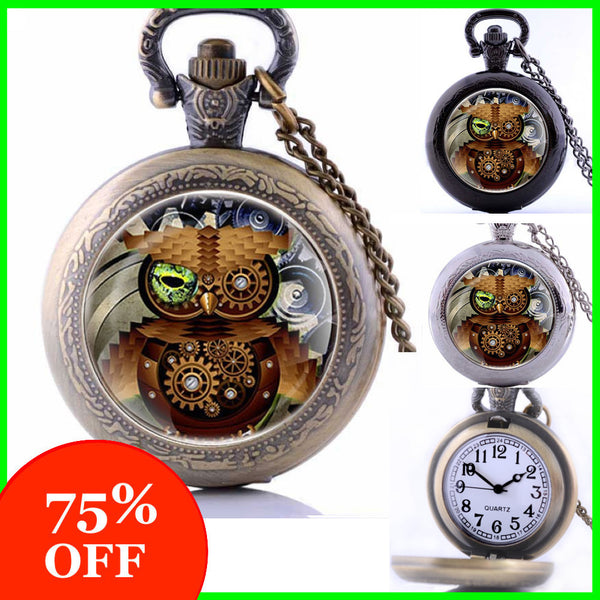 Steampunk Owl Watch Necklace (3 Colors) -75% OFF