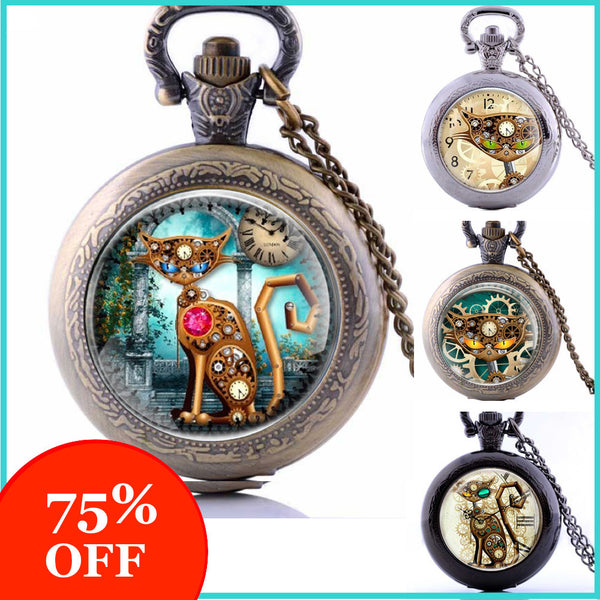 Steampunk Cat Watch Necklace (5 Styles) -75% OFF