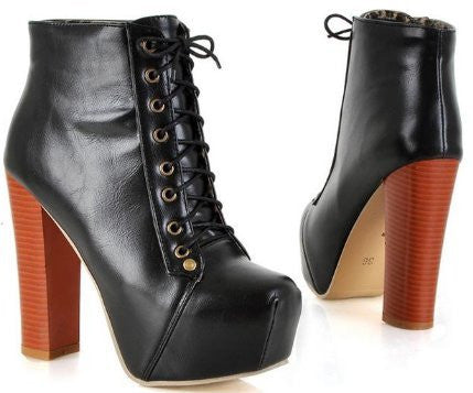 Sexy Wooden Heel Ankle Boots (4 Colors) -40% OFF