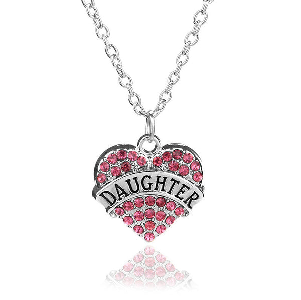 """Family Heart"" Dazzling Heart Necklace (Many Names & Colors)"