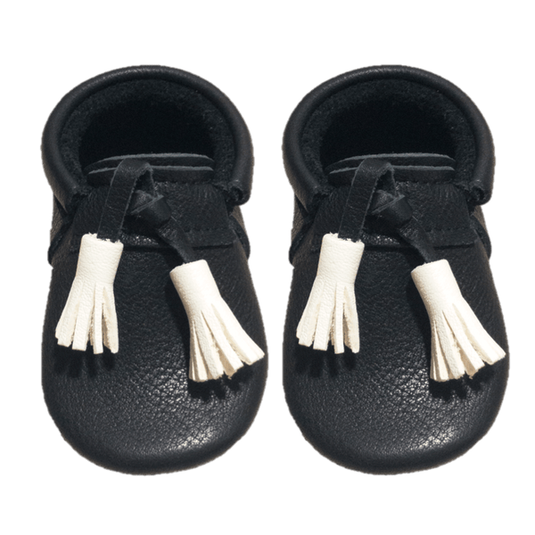 Black/Milk Tassels-Little Lambo vegetable tanned baby moccasins