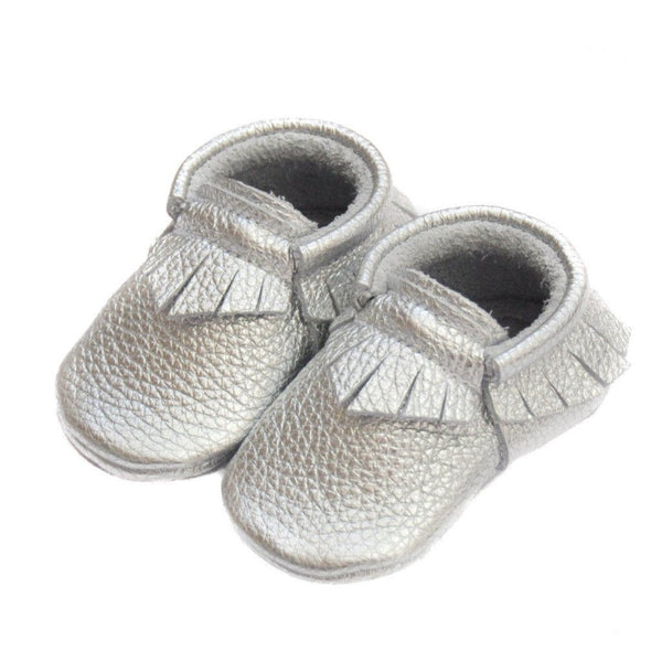 Silver-Little Lambo vegetable tanned baby moccasins