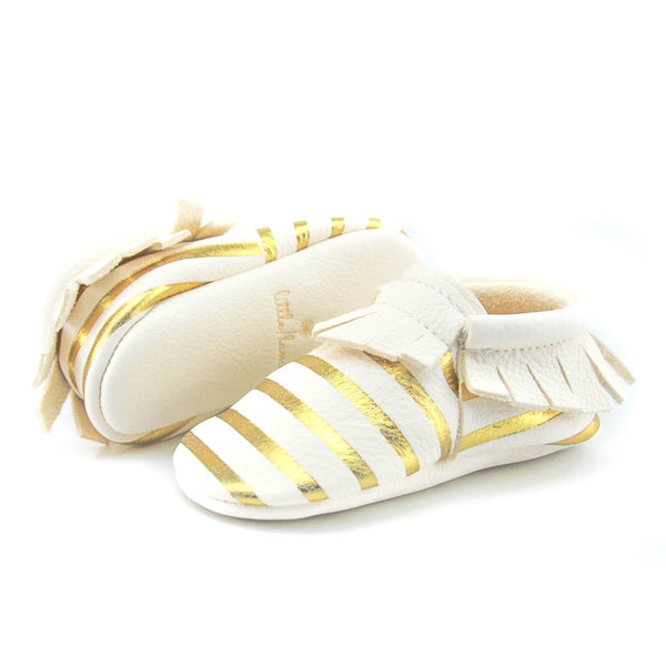 Milk Gold Stripes - LIMITED EDITION, Moccasins - Little Lambo