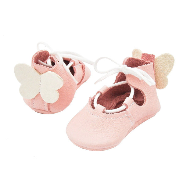 Ava with butterfly-Little Lambo baby moccasins kinder mokkasins