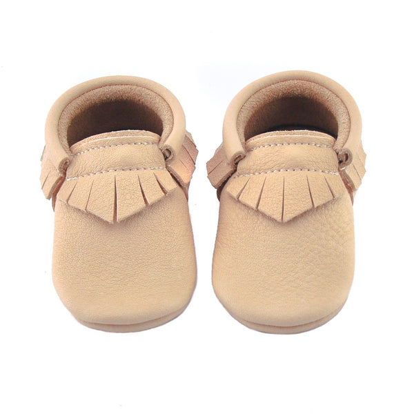 Sand-Little Lambo vegetable tanned baby moccasins