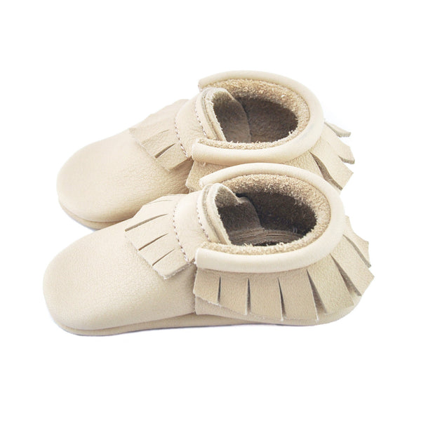 Nude-Little Lambo vegetable tanned baby moccasins