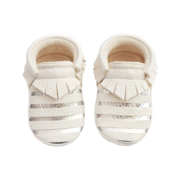 Little Lambo baby moccasins, Off white with silver stripes moccs
